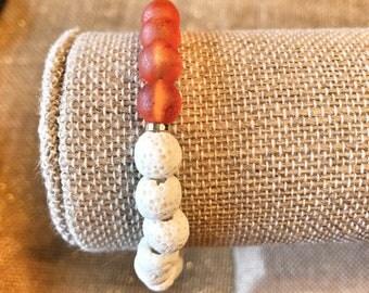 Orange Glass beads - White Lava Rock Beaded Bracelet