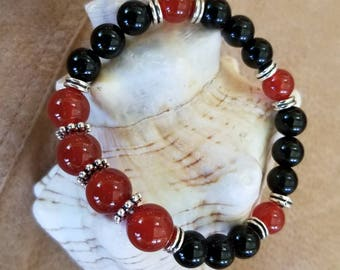 Red Agate and Black Onyx Gemstones