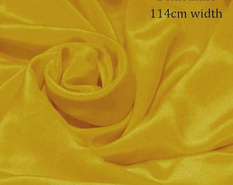 "Pure Natural Mulberry silk Sample/ Yards/Meters Pure Silk Fabric Crepe De Chine 45"" wide 14momme lemon curry yellow color crepe-12-14mm"