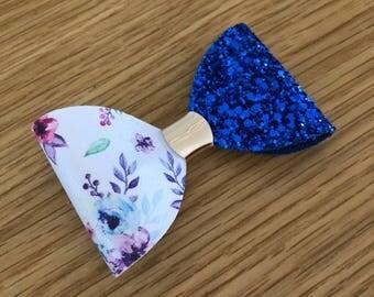 Floral blue bow