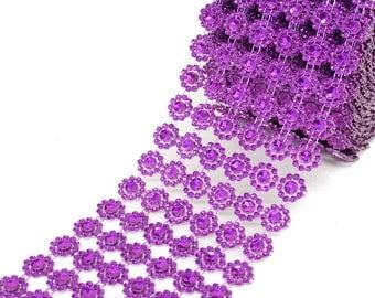 "4"" x 10 yards (30ft) Purple Flower Mesh Wrap"