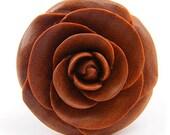 "Rose Flower Ear Gauge Plugs - (5/8"") - Sawo / Sabo Wood"