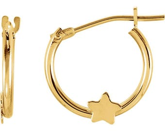 14K Yellow Hoop Earrings with Star