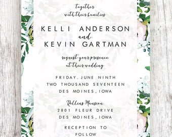 White Floral Pattern Wedding Invitation (TWO SIDED) Fully Customized & Printable Download