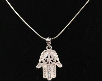 Sparkling Sterling Silver Chamsa pendant inlaid with cubic Zircon crystals CZ . Sterling Silver necklace