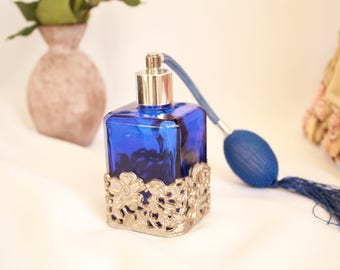 Perfume Bottle| Dark Blue| Glass | Metal Floral Nice Gift| Vintage Goodies- free shipping