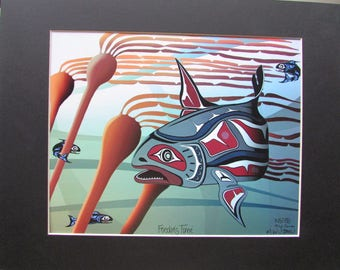 "New ""FEEDING TIME"" Tyee Salmon Art Print  Limited Edition Signed and Numbered"