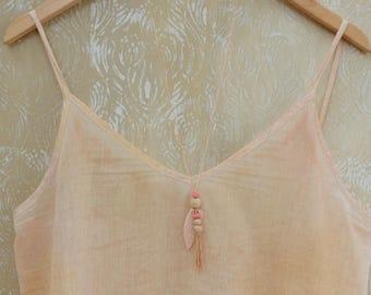 tassel and leaf necklace//leaf necklace//rose gold plated tassel necklace//boho necklace