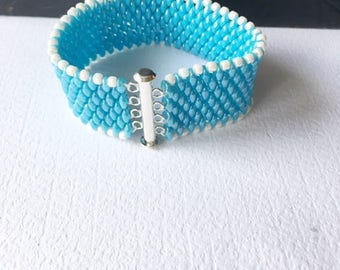 Beaded bracelet, Blue bracelet,unique bracelet, seed beads, flexible, lightweight,birthday gift, blue beads, wide bracelet, gift for her