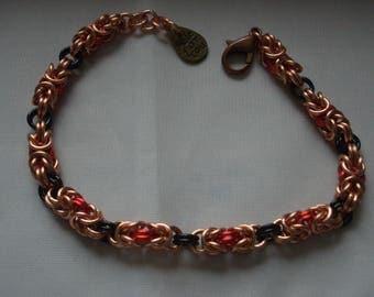 Tri-colour Byzantine chainmaille bracelet