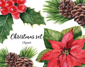 Christmas clipart, Christmas watercolor clipart, Floral, Omella, Christmas Three, Invitation Set, Holiday Set