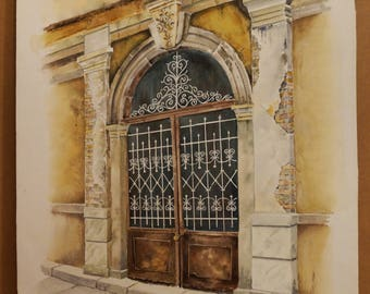 "OLD GREEK DOORS, Door at ""Ladadika"" in Thessaloniki, (Aquarelle) 50x70cm, 2013"