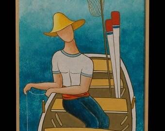 "GREEK LIFE, ""Fisherman with Boat"", 25x100cm, Mixed Art"