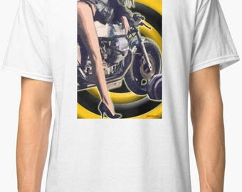 Guzzimoto inspired classic retro bespoke urban Motorcycle art T-Shirt Melimoto