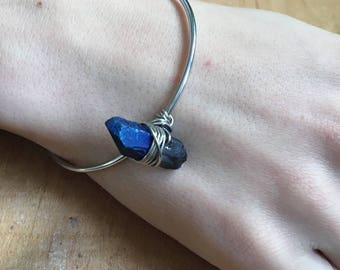 Blue Stone Bangle, Blue Luster Nugget Crystal Bangle, Wire Wrapped Bangle, Bracelet, Crystal Bracelet, Crystal Pendant, Boho Style, Handmade