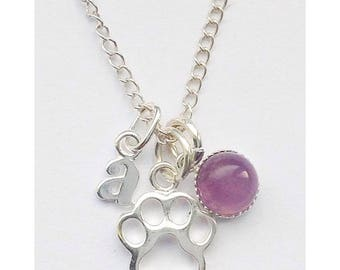Paw prints on my heart personalised Sterling silver & amethyst dog memory charm necklace