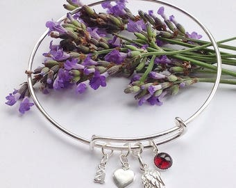 Forever in my heart. Personalised Sterling silver & garnet angel wing memory bangle