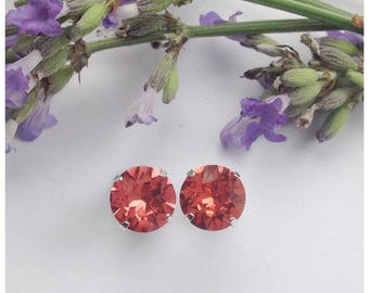 Sterling silver earrings made using 8mm Swarovski Padparadscha crystals, wedding, prom jewelry, bridesmaid jewellery