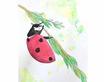 Ladybug Watercolor Painting - PRINT   Ladybug Art   Artwork   Wall Decor   Nursery Decor   Nursery Artwork   Lady Bug   Watercolor Painting