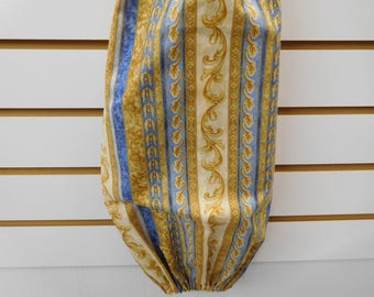 """586 Blue, Cream and Tan Striped Bag Holder; 28"""" long, 10-1/4"""" wide,"""