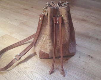 Leather and Cork bucket bag purse