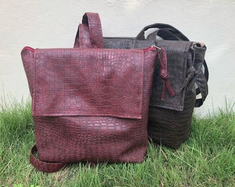 Crocodile leather rucksack