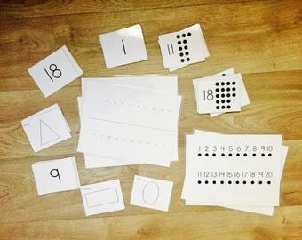 Preschool Math Number 1-20  Flashcards with Patterns, Number Line, Graphing, 1-20 Dot Cards and Shapes for Homeschool Pre-Kindergarten