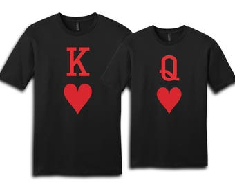 Couple Shirt, Playing Cards Shirt, King Of Hearts, Queen Of Hearts, Couples Shirts, Valentine Shirt, Gift For Her, Gift For Him, Valentine