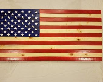 American Flag, Wooden, Red, White and Blue, USA, Stained American Flag