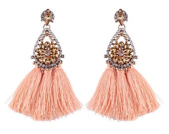 light pink drop tassel earrings