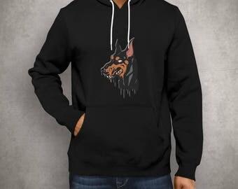 Doberman Grime Design Pullover Hoodie