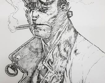 Hellboy - black and white A4 print