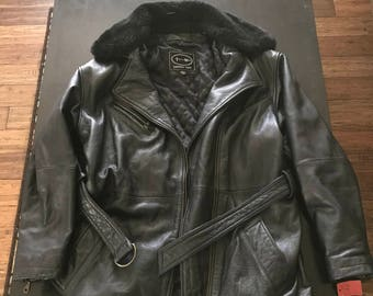 Black Leather Fur Collared Over Coat