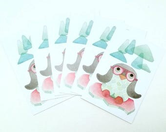 Set of 6 cards postcards Penguin