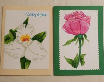 Handmade Greeting Card, Set of 2 hand painted All Occasion Greeting Cards, Floral Greeting Cards, Made in the USA, #48