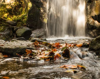 Autumn Derbyshire Waterfall Mounted Photographic Print - Christmas Gift - Birthday Gift - Gift For Him - Gift For Her - Home Decor