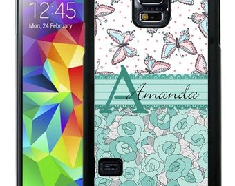 Personalize Rubber Case For Samsung Note 3, Note 4, Note 5, or Note 8- Butterflies Blue Flowers