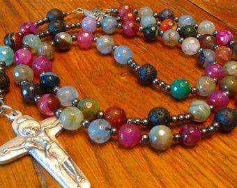 Essential Oil Diffuser Rosary, Semi-precious Gemstone, Fancy Agate Bead, Lava Stone, Heirloom, 5 Decade Catholic Rosary, Soft Flex Wire