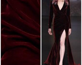 Designer Silk Rayon Velvet Fabric - Red Burgundy- Sold By The Yard