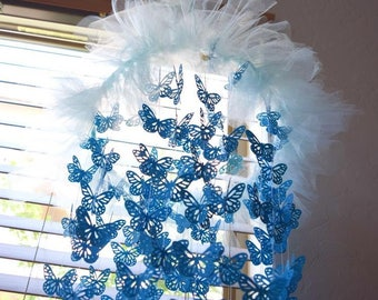 Baby blue butterfly mobile,baby boy mobile,nursery mobile,gift