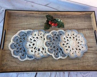Coaster Crochet Set 4 Coasters Tea Drink Home Kitchen Decor Vintage Handmade Gift