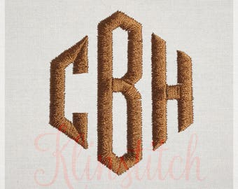 Audrey Monogram Embroidery Fonts 5 Sizes Three Letters Monogram Fonts BX Fonts Embroidery Designs PES Alphabets - Instant Download