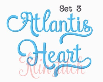 50% Sale!! Set 3 Atlantis Heart Embroidery Fonts 5 Sizes Fonts BX Fonts Embroidery Designs PES Fonts Alphabets - Instant Download