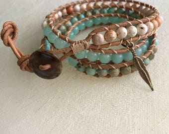 3 Wrap leather and stone bracelet.