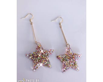 Christmas essential- blink blink star shape Earrings Rainbow Colour - 2 styles