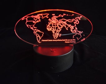I Haven't Been Everywhere -- Color-Changing World Map -- edge lit sign