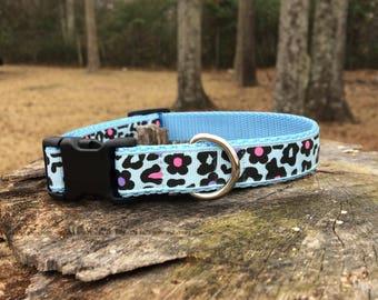 Blue Leopard Print Dog Collar