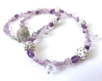 Beaded Amethyst Necklace and Earrings Set