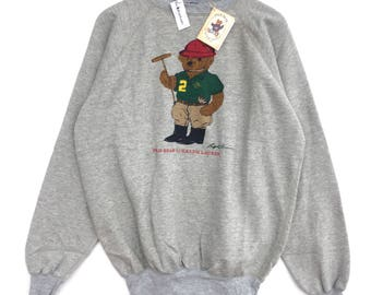 NEW OLD STOCK With Tag!! Deadstock Polo Bear By Polo Ralph Lauren Sweatshirt Big Logo Polo P-wing Polo Stadium Rl-92