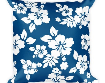 Floral Design Print Square Pillow Blue And White Flowers